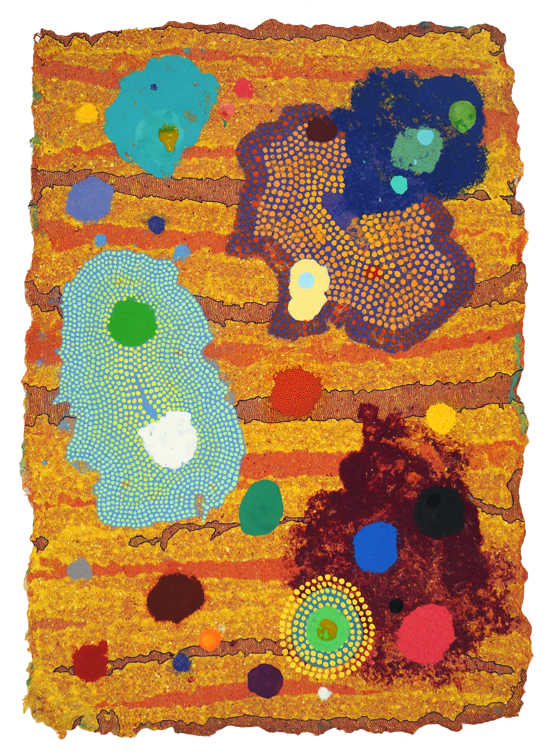 CHAD HAYWARD   Muon  Acrylic, pen, and pigmented cotton pulp on handmade paper, 23 x 32 1/2 inches