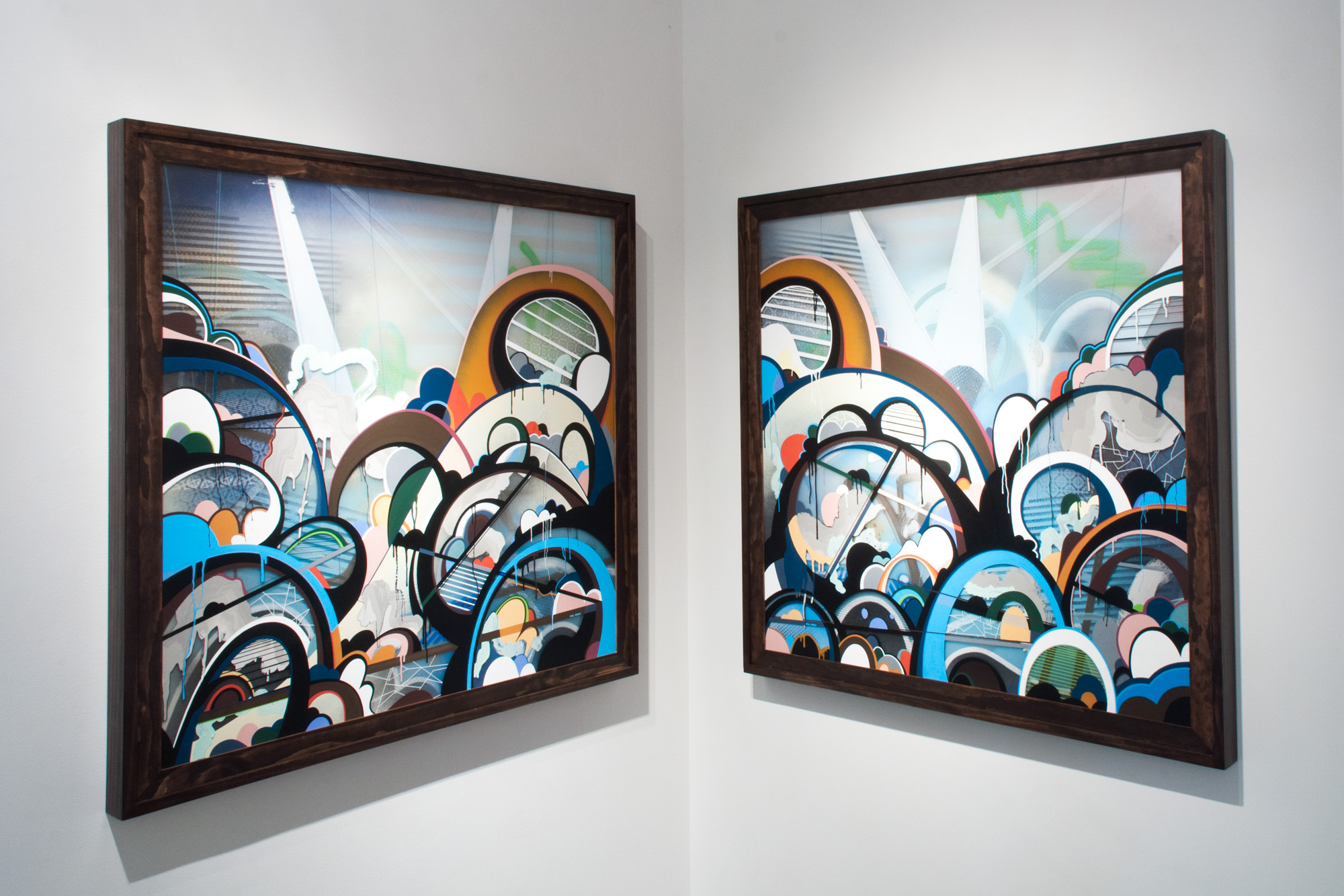 PHIL HARRIS   Untitled  mixed media on double layered Plexiglas 42 x 42 inches (each) PHA 014G