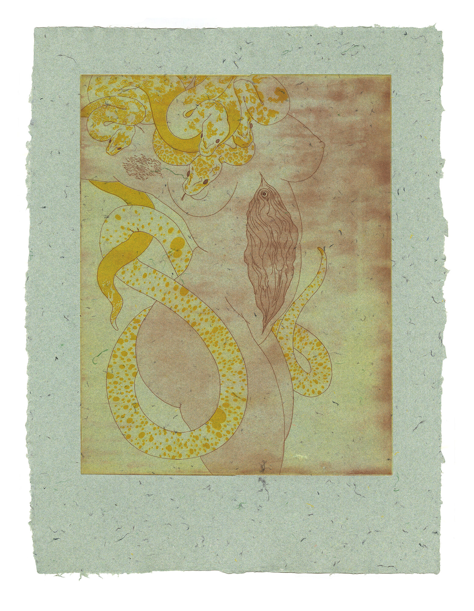 Serpent      etching on handmade paper {edition of 4} 24 x 18 inches HAD 009G