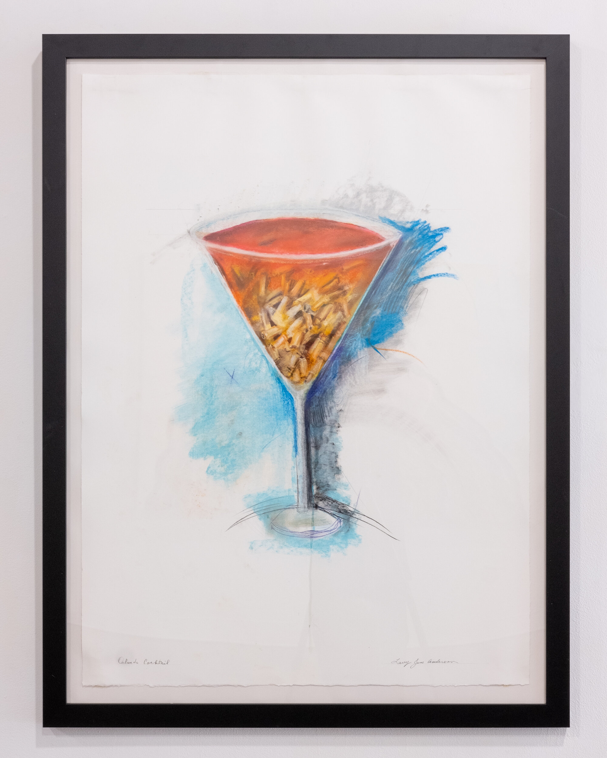 Orlando Cocktail    framed pastel drawing 46 x 35 inches LJA 263G