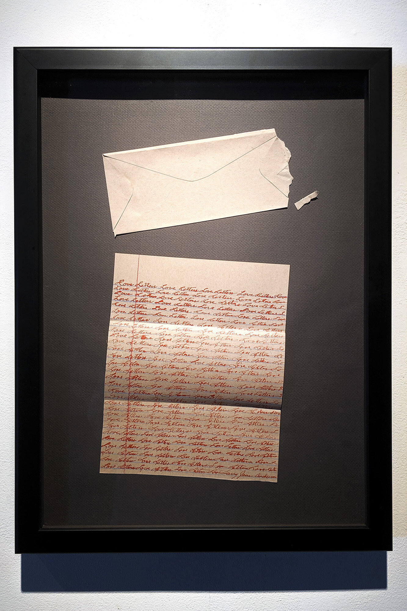 Love Letter    ink on created envelope and stationary in shadow box frame 18 x 24 inches LJA 264G