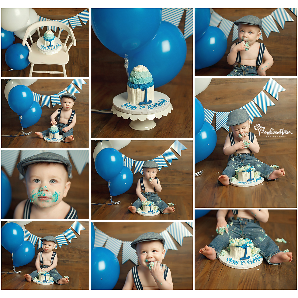 Smash cake photo shoot Greensboro, Chapel Hill, Burlington NC Photographer first birthday milestone portraits by Melissa Treen Photography (336) 706-4400