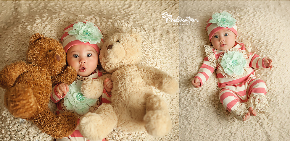 4 month baby photo with teddy bears lace bows melissa treen photography greensboro photographer north carolina.jpg