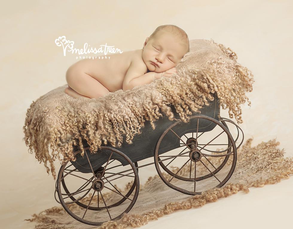 baby boy in rustic cowboy wagon greensboro newborn photographer.jpg