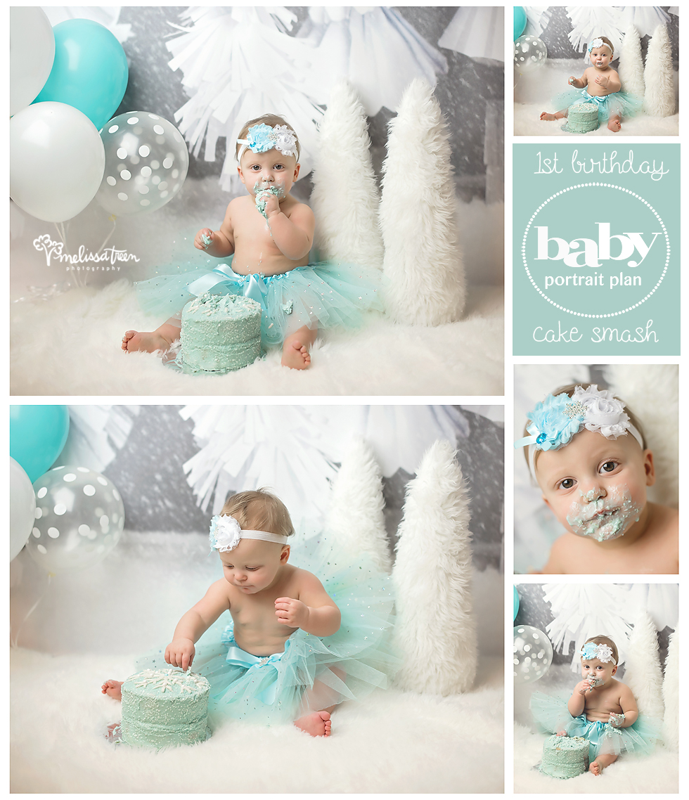 Our baby portrait plan includes an entire year of custom styled photo shoots from maternity until baby's 1st birthday so you won't miss any milestone of baby's first year.