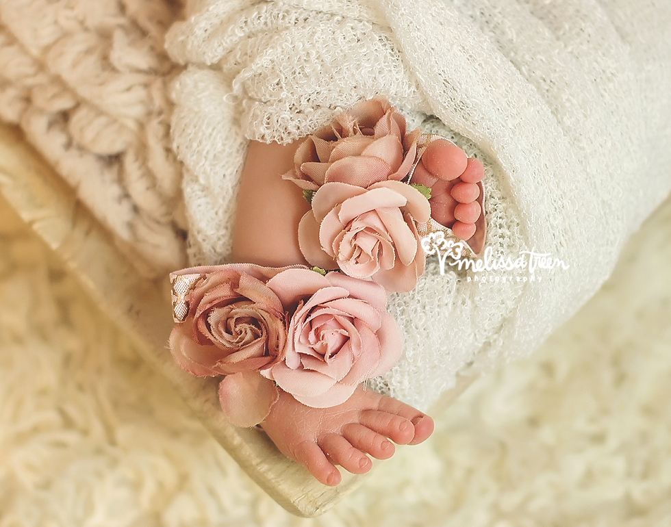 newborn baby toes with flowers greenbsoro photographer chapel hill winston salem nc.jpg