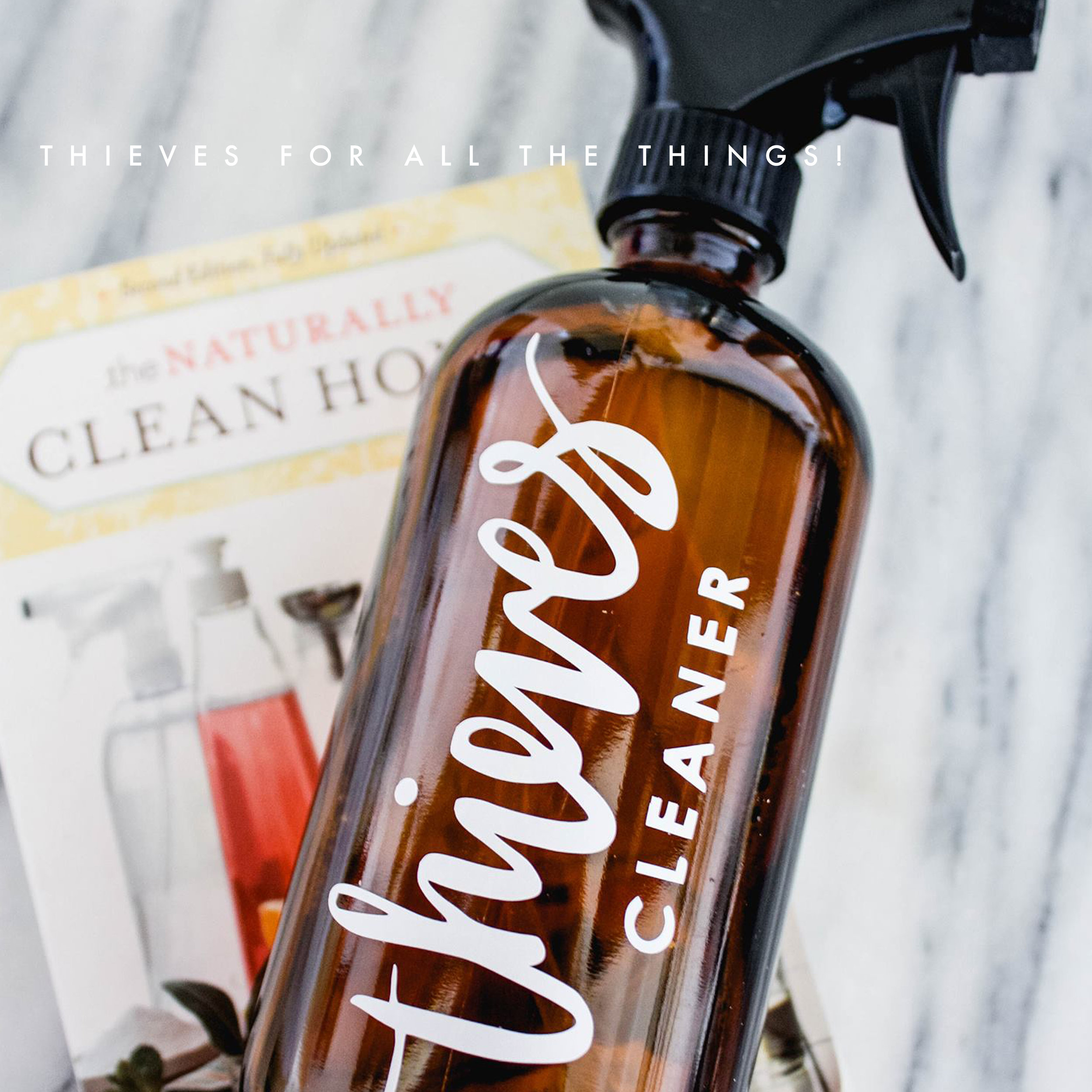 Cleaning - Thieves. This stuff is gold. You can literally use it to clean any thing. Young Living sells a bottle of the cleaner and all you do is dilute it to fit the area you are cleaning and viola! It is a natural way to clean and I don't have to be paranoid about my babies getting into something they shouldn't.