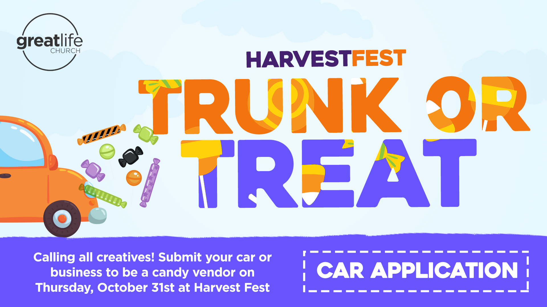 Car Application - Be a part of Harvest Fest 2019, decorate your car with a crazy and fun theme, and hand out candy! Submit your personal car or business by filling out an application below.