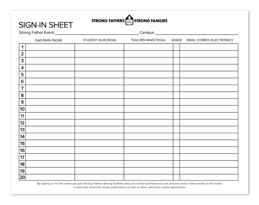 Strong Fathers Event Sign-In Sheet