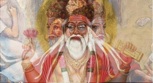 """Kuvassa on manipuloitu kuuluisa Akseli Gallen-Kallelan maalaus """"Väinämöisen lähtö"""" (1906) ja perinteinen intialainen piirros nelikasvoisesta Brahmasta päällekkäin. Partasuuthan ovat kuin kaksi marjaa!"""