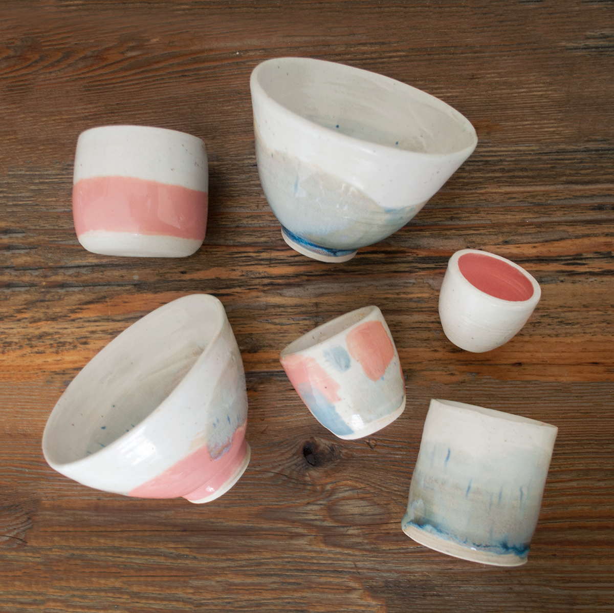 After a year of not doing ceramics, my partner and I threw these pieces all in one afternoon. The bowls were inspired by our trip in Iceland with the rolling mountains and a hidden lake inside the bottom of each bowl.