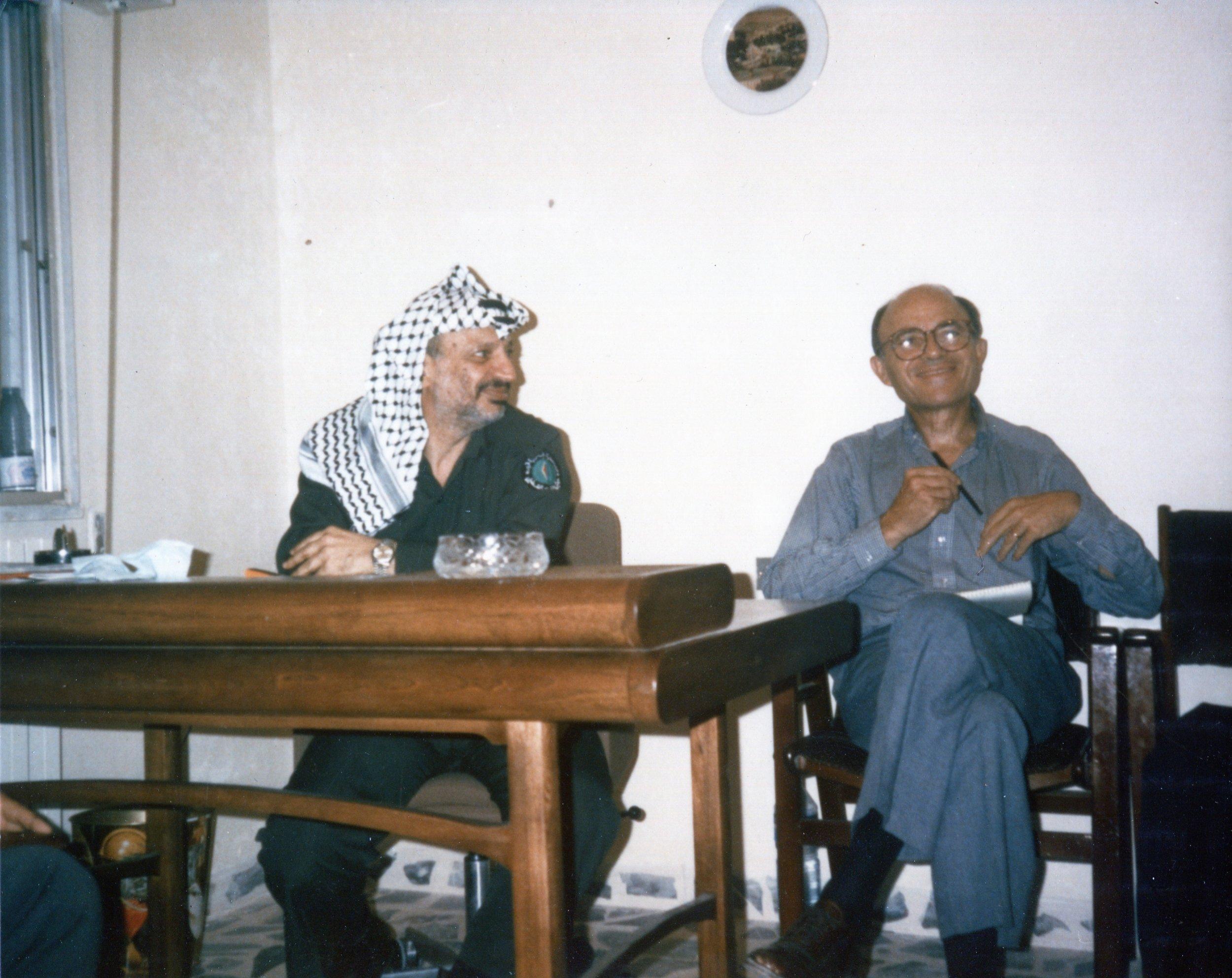 Leonard Beerman with Palestinian leader Yasser Arafat in Jordan in 1983