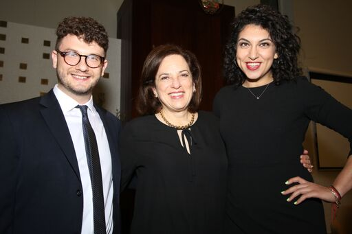 Social Justice Fellows Jacob Plitman and Rachel Sumekh with Judith Beerman O'Hanlon