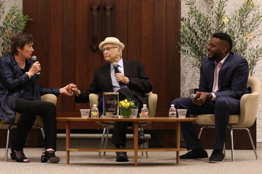 Jane Olson, Norman Lear and Michael D. Tubbs in conversation