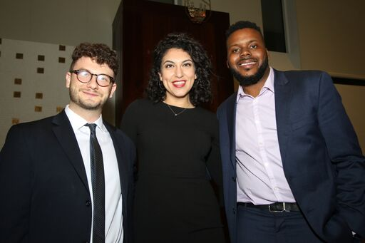 Social Justice fellows Jacob Plitman, Rachel Sumekh and Michael D. Tubbs