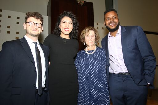 Social Justice fellows Jacob Plitman, Rachel Sumekh and Michael D. Tubbs, with Joan Beerman