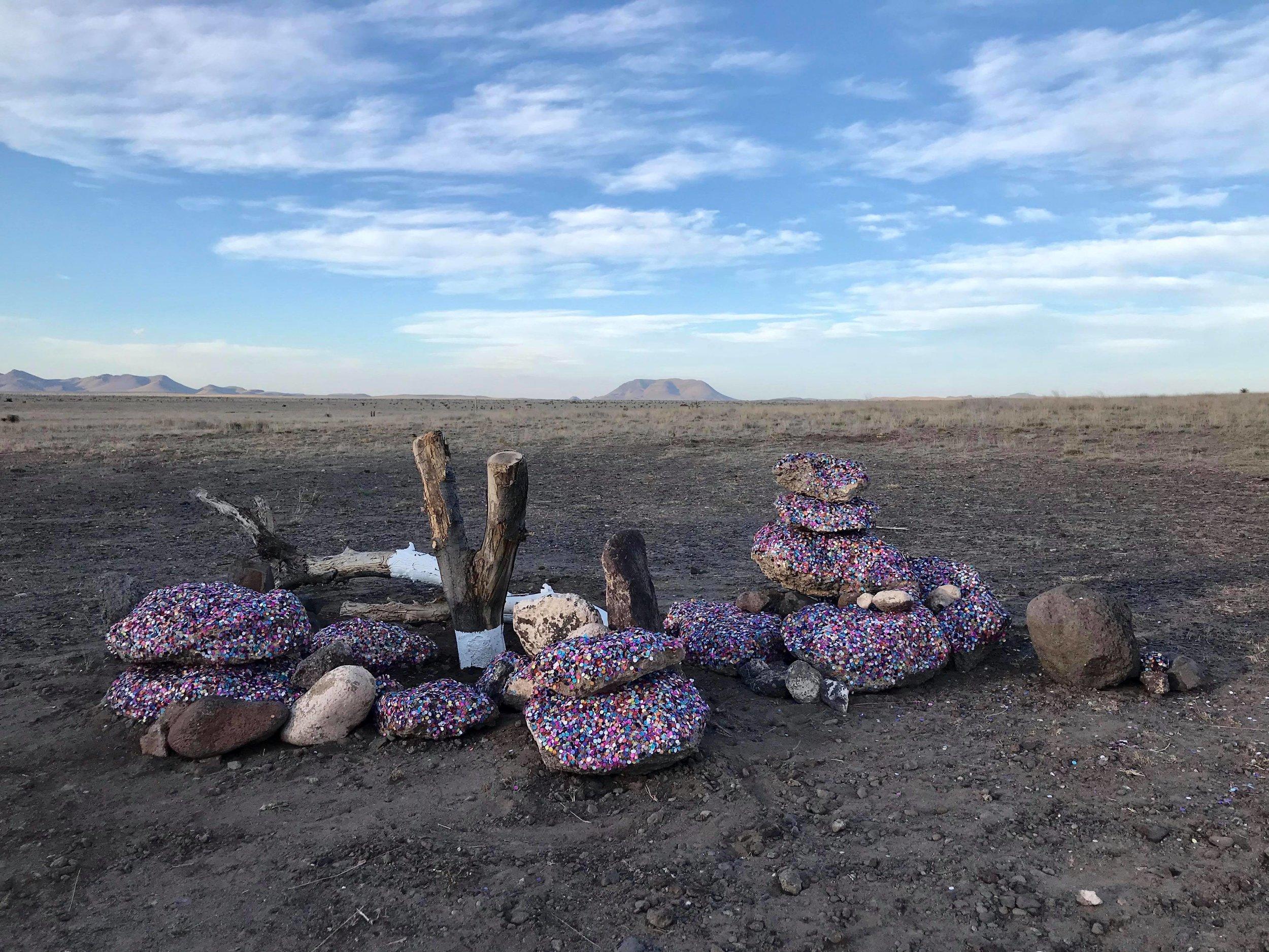 Untitiled (Papel Picado)  Marfa, Texas desert  Site specific motion censored sound installation
