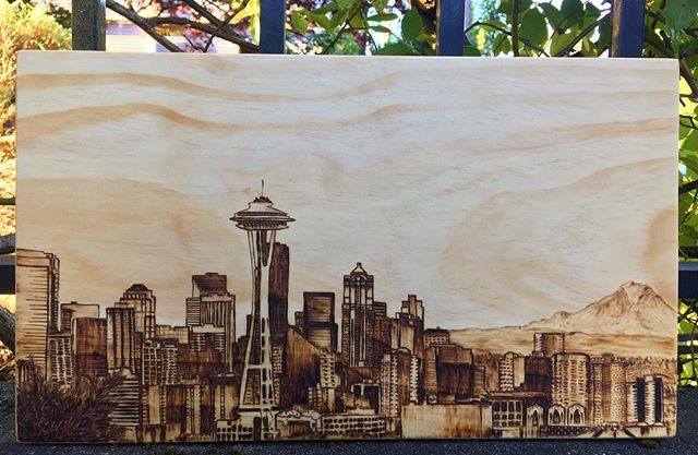 Handing this off to a client today! 🌇 ▫️ ▫️ ▫️ #woodburning #woodburningart #seattle #seattleskyline #pnwart #pnwartist #seattleartist #seattleart #pyrography #pyrographyart #pyrographer #woodburned #woodenart #customart #womeninwoodworking