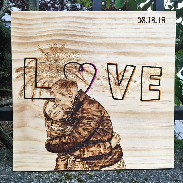 L❤️VE ▫️ Loved doing this piece for a few of wonderful old friends. Been spending most of my summer working on custom pieces and enjoying my life, which is the reason for my relative quiet. Thanks everyone for the continued support! ▫️ ▫️ #pyrography #pyrographyart #customportrait #pyrographer #woodburning #woodburned #woodburnedart #portrait #woodenart #womeninwoodworking #weddinggift #pnwartist #seattleartist