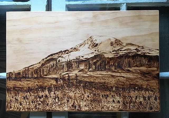 Two years ago I finished up this beauty. Still one of my favorite pieces! 🗻❤️ ▫️ ▫️ ▫️ #mtrainier #rainier #mountrainier #pyrography #pyrographyart #woodburning #woodburned #woodburnedart #pnwart #pnwartist #seattleart #seattleartist #woodenart #woodart #woodburningart