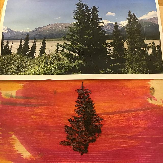 Sneak peak 🗻 of a new technique I'm trying, inspired by this photo I took along Alaska's Richardson Highway ▫️ ▫️ ▫️ #woodburningart #woodworking #pyrography #pyrographyart #woodburning #woodenart #dye #treestuff #treescape #alaska #richardsonhighway #seattleartist #seattleart