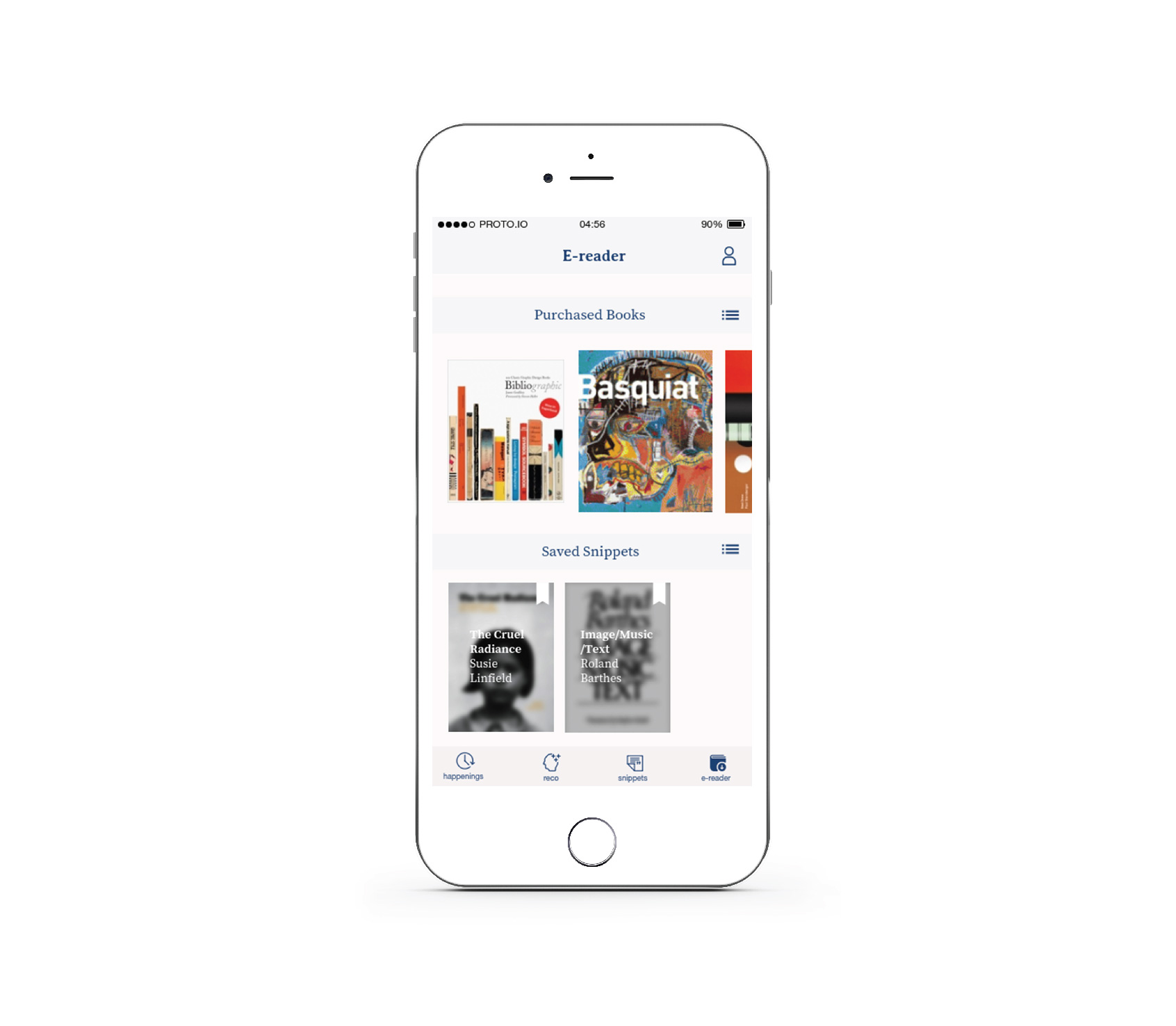 E-reader - E-reader is an essential part of the app because users can buy the books and connect them with the app. They read their favorite books through the app.