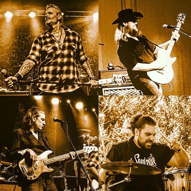 @bullylosbufalos_official getting it done. Voted best #spanishrockband 🤘  #stubbornrock #bullylosbufalos #rocknroll #godinguitars #soultone #tattoos #cowboyhat