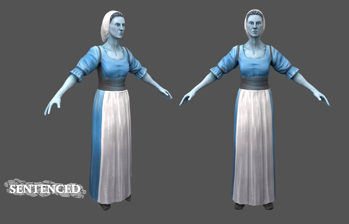 I also modelled this young townswoman for the crowd!