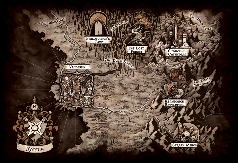 The map of Kardia in the world of A Dragon Named Coal.