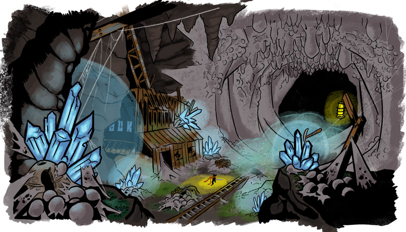 Concept art of the abandoned mines where you can encounter Annessa.