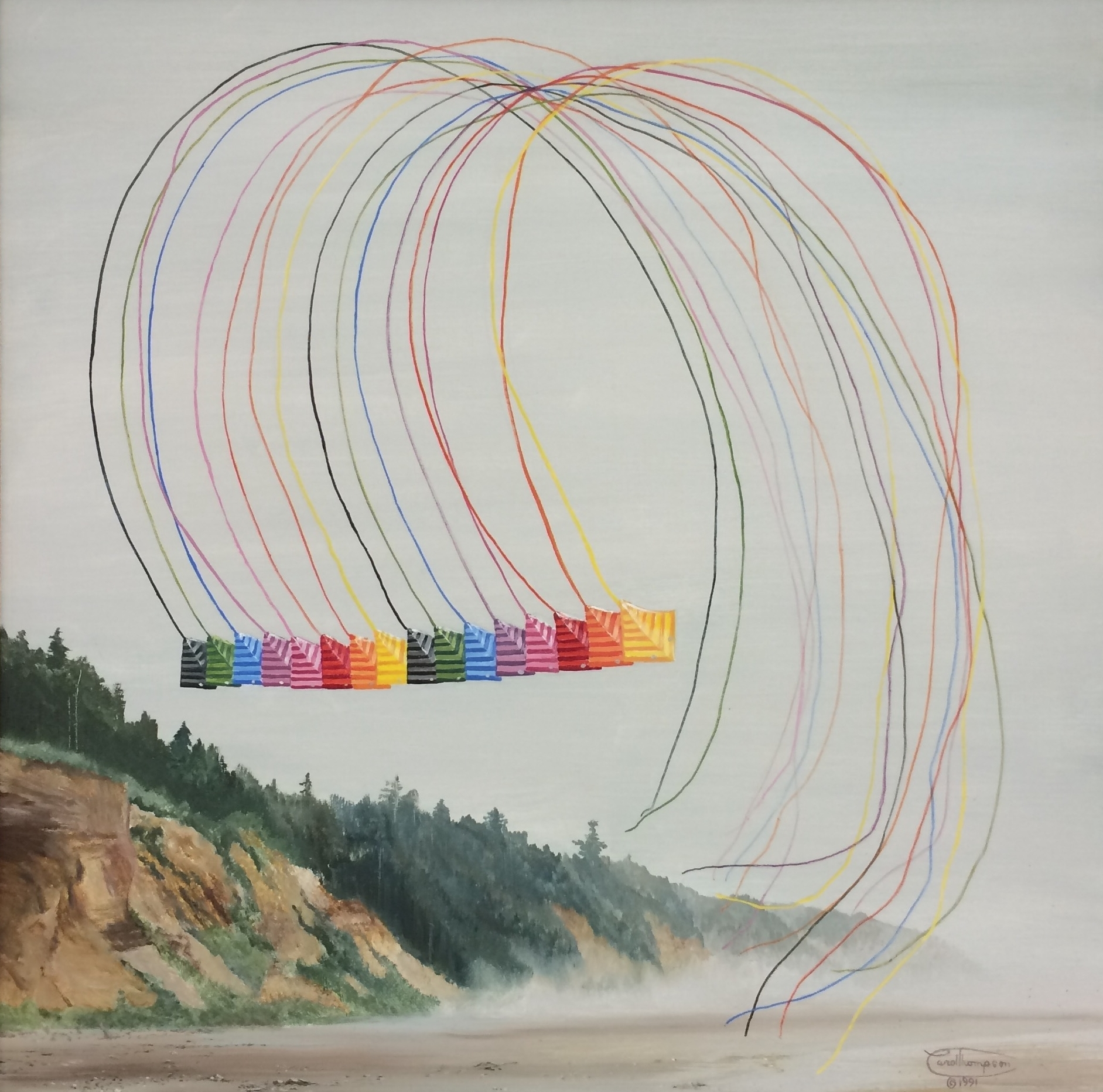 """Sweet Sixteen"" oil painting of Trlby stunt kites by Carol Thompson, 1992 ."