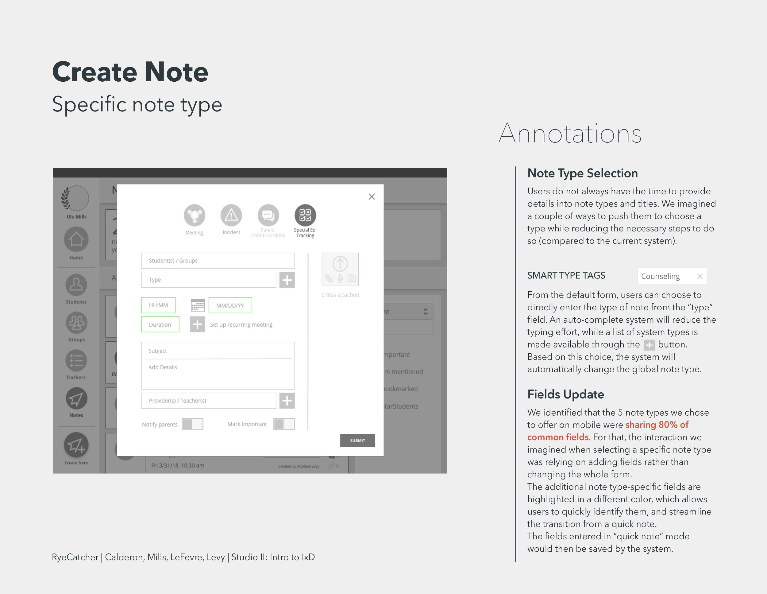 New note form entry from 15 differ t notes types consolidated to 4 with half as many fields