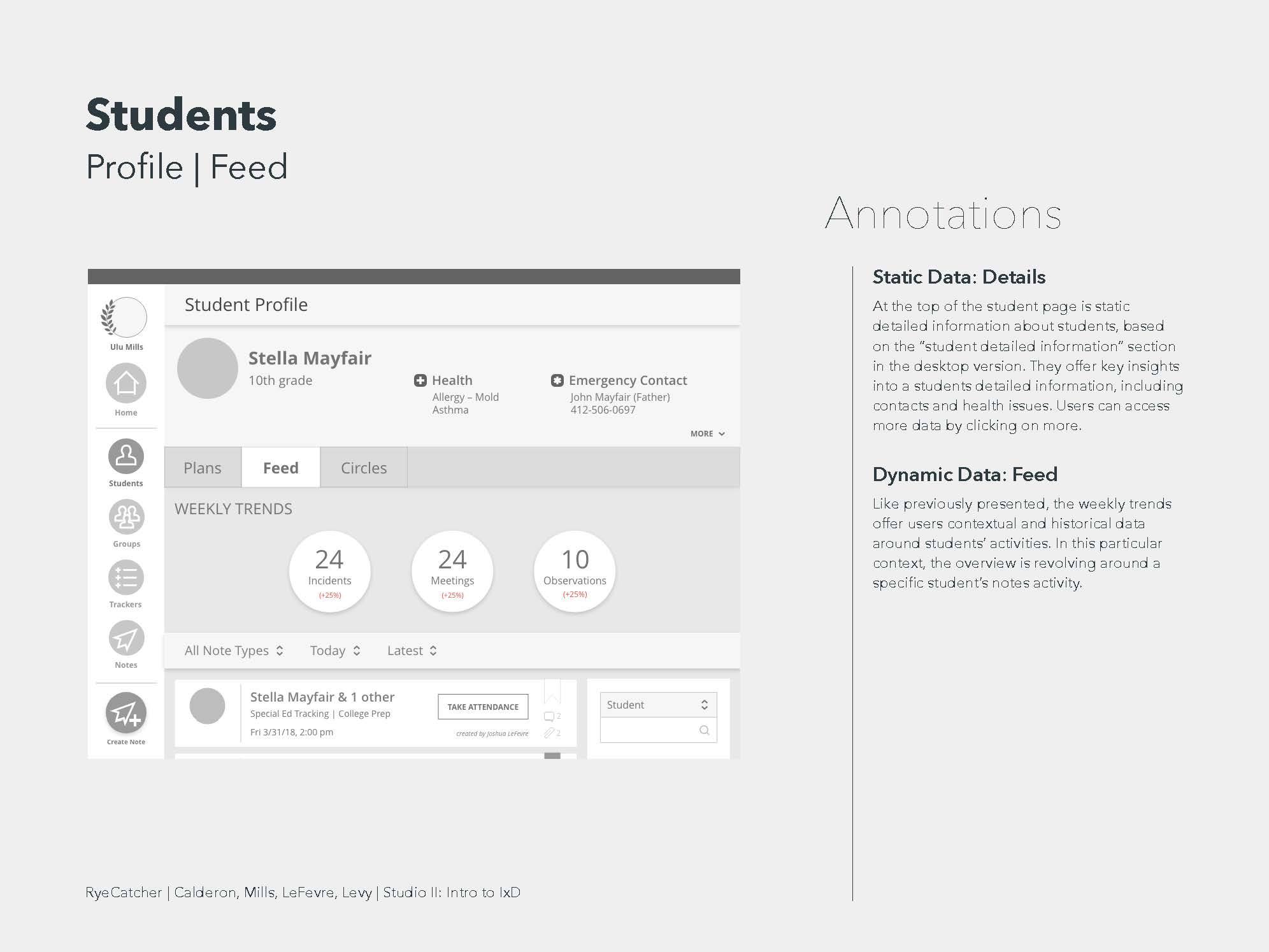 Student feed annotated