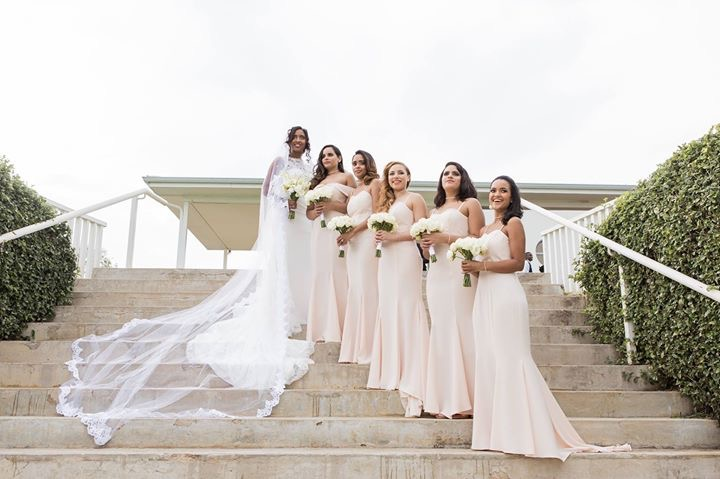 Our #YDS2018 bridesmaids in bespoke soft peach dresses. Note; bride is not wearing a LALI London design.