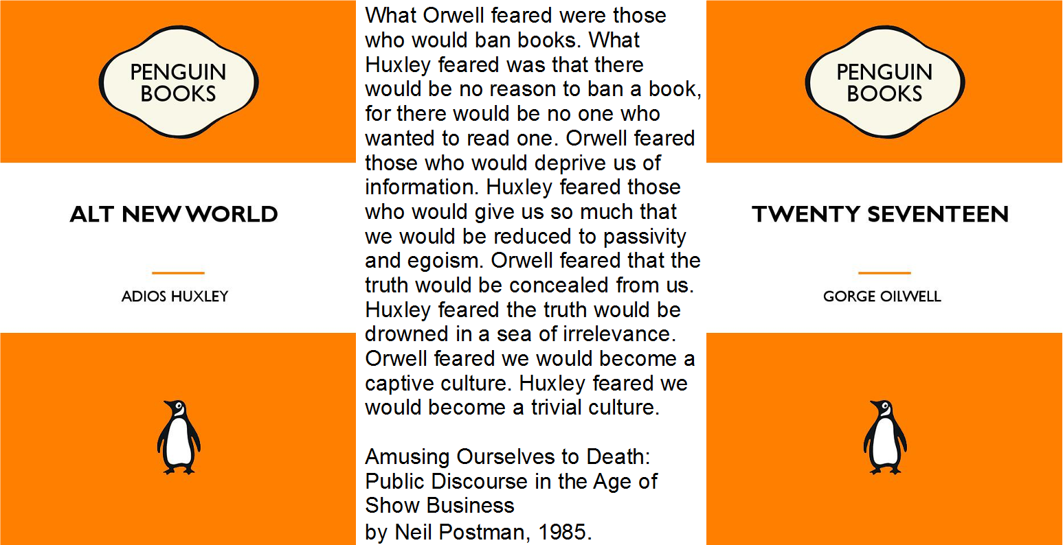 Find a copy of Amusing Ourselves to Death by Neil Postman in  a library near you . Although, I must observe that there are several mentions of book banning and suppressed science in Aldous Huxley's Brave New World ( read the full text on archive.org and  all of Orwell's 1984 , too).
