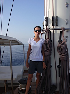 Me standing at the base of the main mast, somewhere in the Ionian Sea.
