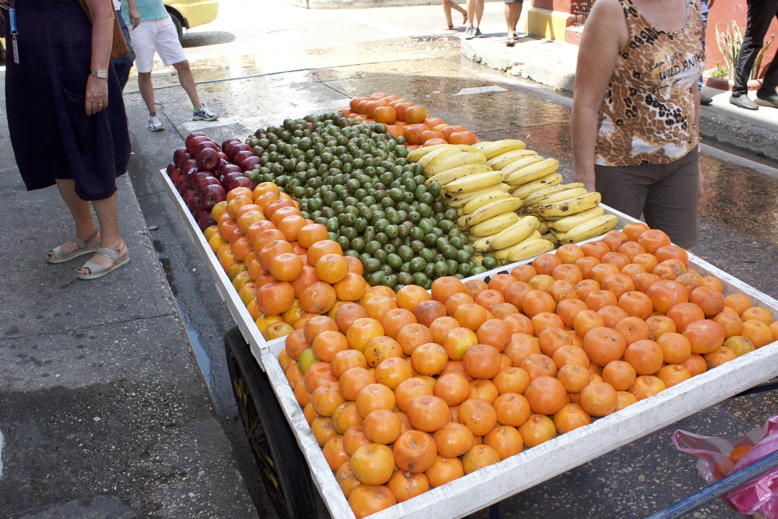 Street snack food. These carts were everywhere. Fruit is plentiful in Columbia!