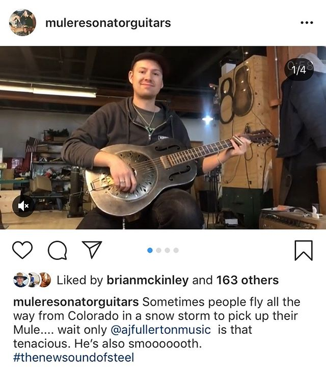Thanks for the shoutout @muleresonatorguitars I had a blast visiting the shop last month... Real dudes making REALLY incredible guitars. #getbehindthemule #thenewsoundofsteel #mule #resophonicguitar #resonatorguitar #dobro #tricone #slide #guitar