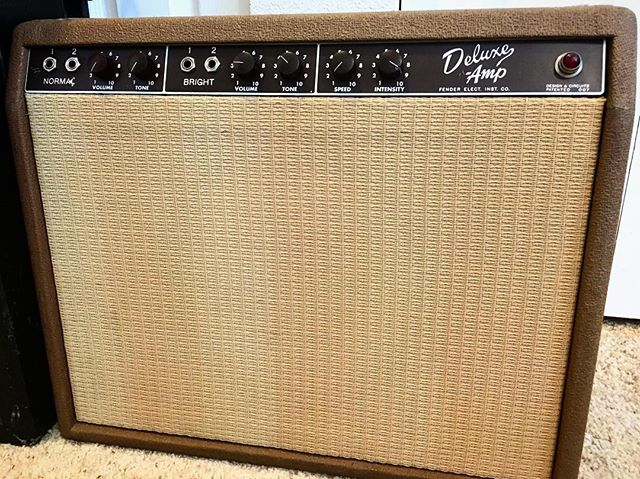 "Something about ""Fender Elect. Inst. Co."" just feels so right. #ajfullerton #bluesingmymind #fender #amp #precbs #deluxe #browndeluxe #brownface #1962 #fortcollinscolorado #gearybusey"