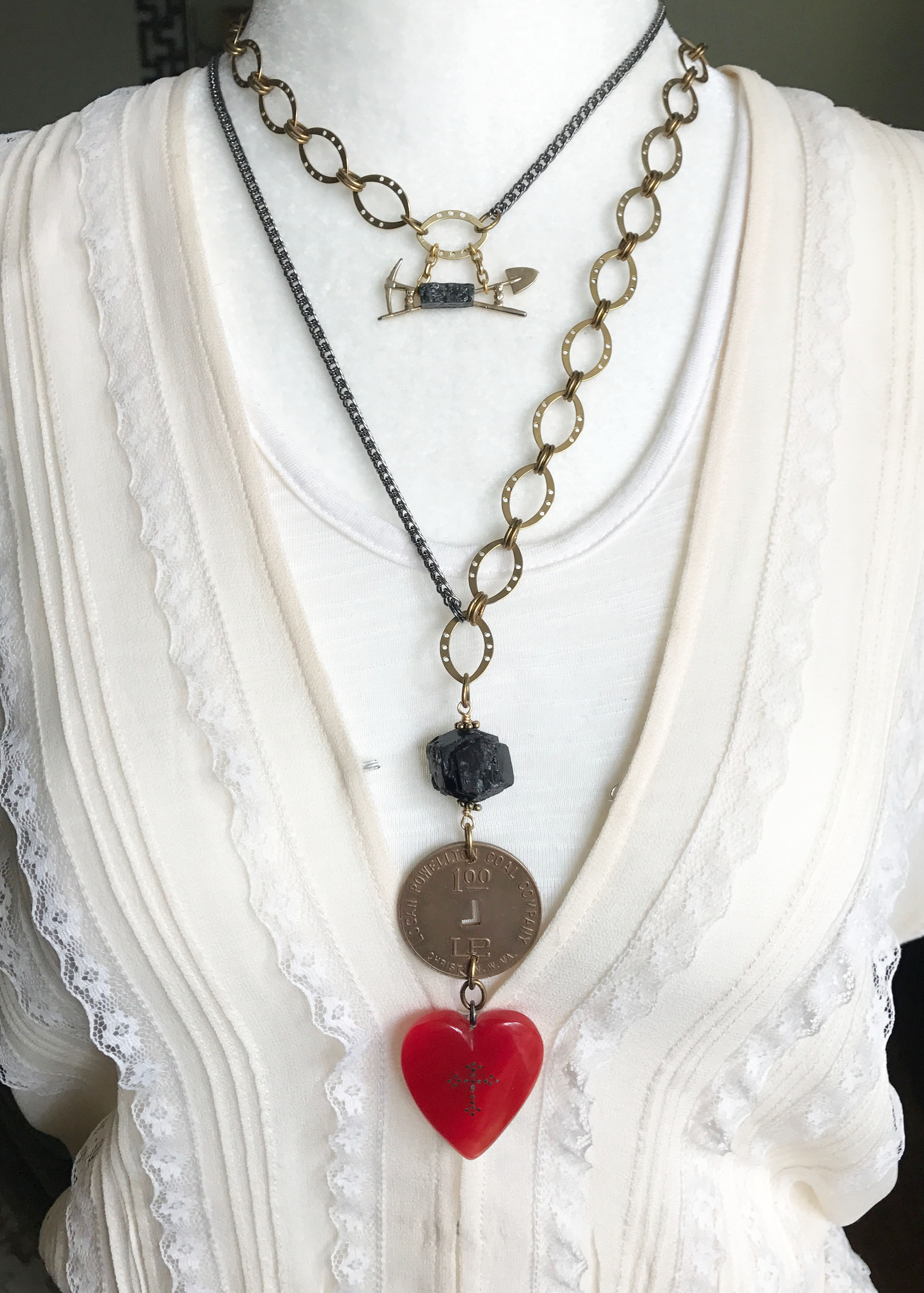 This Glamourbilly necklace set feature a pick and shovel brooch with a real piece of coal and a piece of scrip from Logan Powellton Coal Company from Christian, West Virginia.
