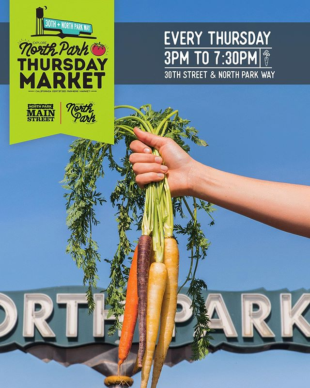 It's @explorenorthpark Thursday Market night!! Get on out there and pick yourself up some yummy food, specialty items and perfect #local #produce 🍅🥬🥒 #explorenorthpark #northpark #shoplocal #92104 #Thursday #farmersmarket #npca #community #supportsmallbusiness
