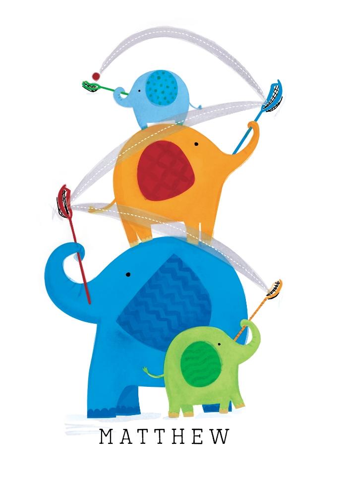 Lacrosse Elephants CUSTOM WALL ART ©KristenCavalloIllustration