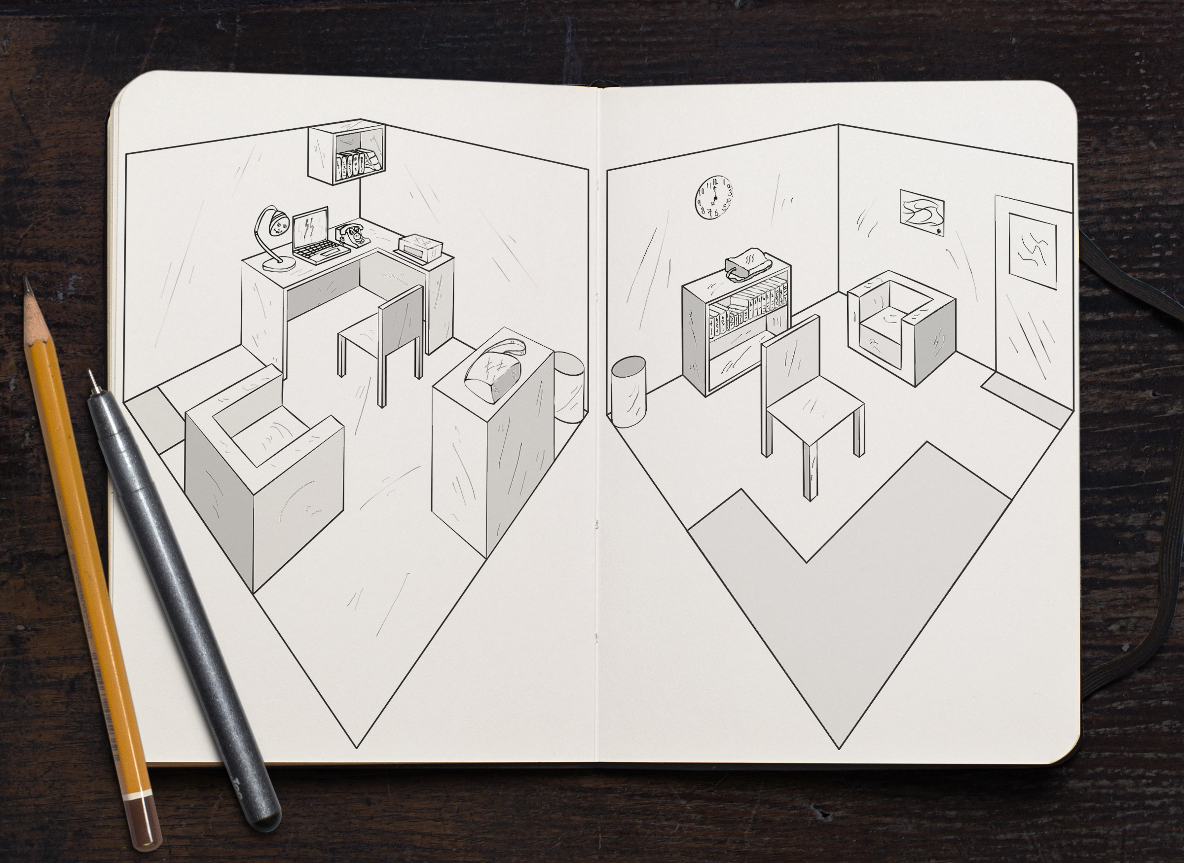 Opposite Office Corners - line drawing