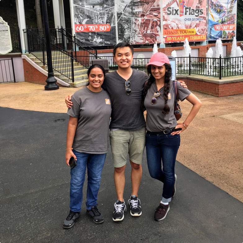 The interns on the team (myself and two software engineers)at Six Flags!