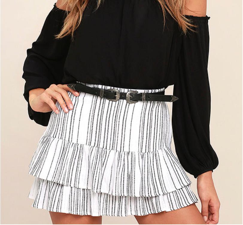 Lulus Striped Mini Skirt: $47.00