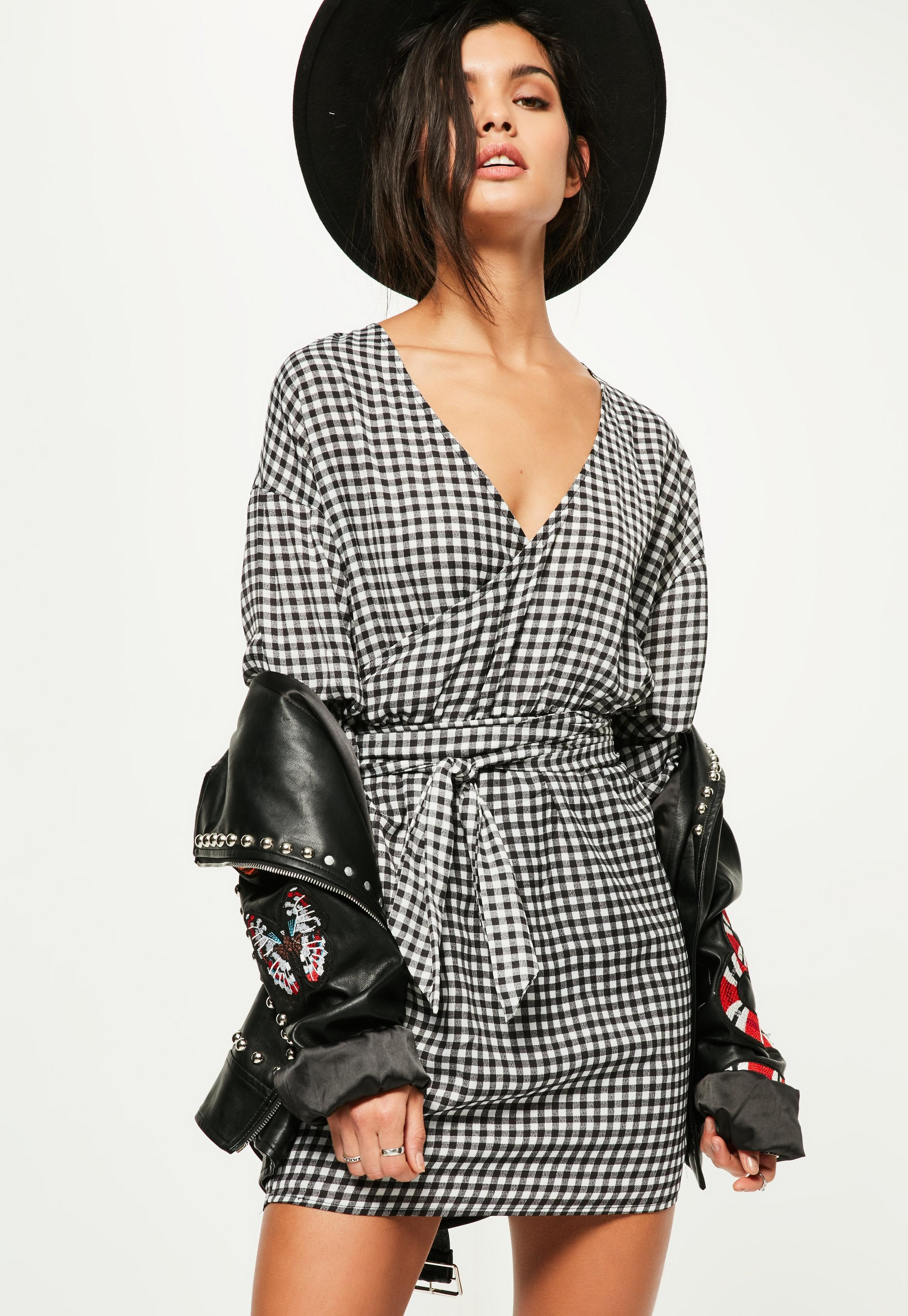 black-gathered-sleeve-tie-waist-gingham-dress.jpg