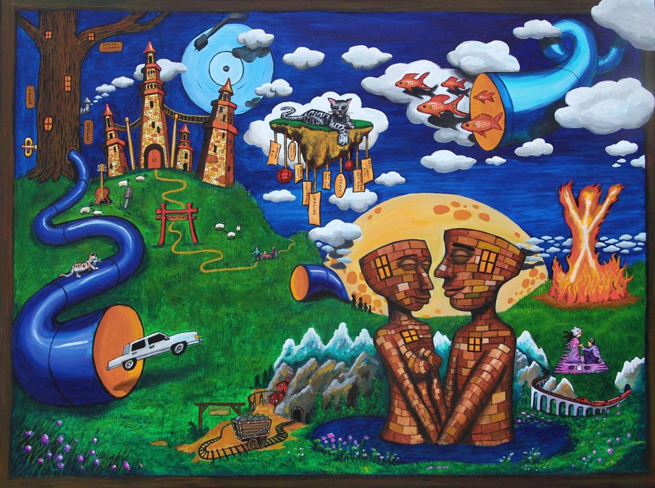 """Burning Man""  acrylic on canvas  36"" x 48"""