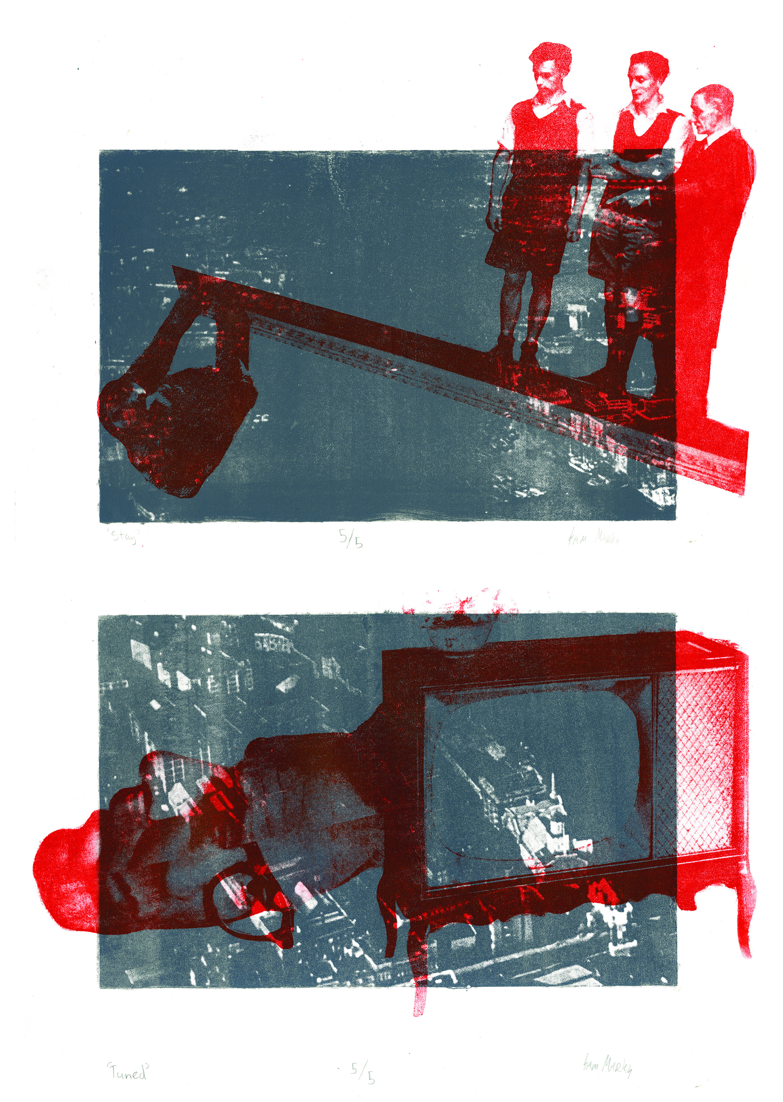 Stay Tuned Diptych, Photolithograph