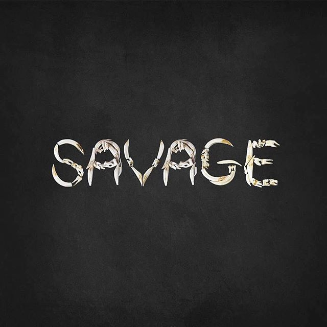 Definition: sav·age ˈsavij  adjective  1.(of an animal or force of nature) fierce, violent, and uncontrolled • • • • • • #type #savage #bones #fangs #handmadetype