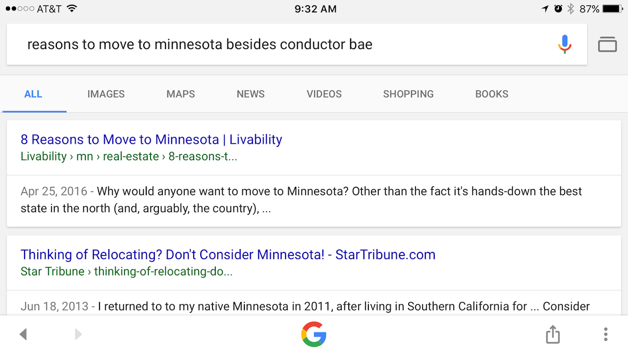 Suddenly pertinent Google search. (Google)